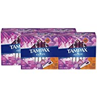 Tampax Radiant Plastic Tampons, Super Plus Absorbency, Unscented, 28 Count - Pack of 4 (112 Count Total) (Packaging May Vary)