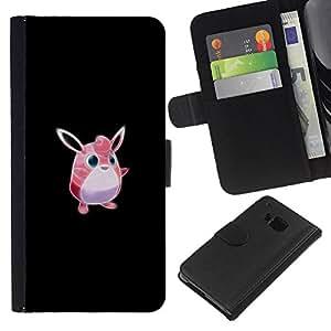 LECELL--Cuero de la tarjeta la carpeta del tirón Smartphone Slots Protección Holder For HTC One M9 -- Meter monstruo rosado lindo --