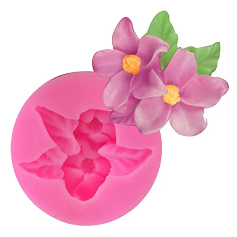 JUNGEN Molde de Silicona en Forma de Flor Doble Moldes de Fondant para Hornear Decoracion Tartas