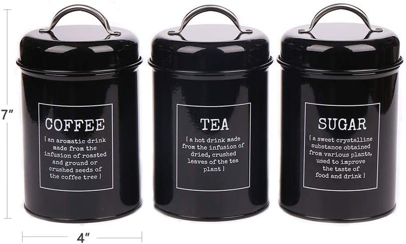 3x Tea Coffee Sugar Canisters Storage Set Kitchen Jars Vintage Tin Metal Black