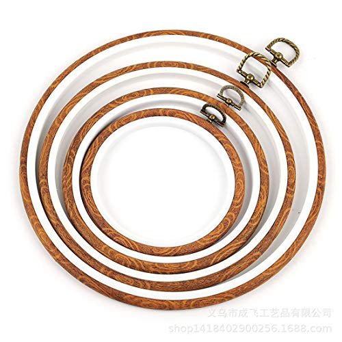 - Embroidery Hoops Cross Stitch Hoop Ring Imitated Wood Circle Set Display Frame for Art Craft Handy Sewing and Hanging - Pack of 4 (5.5