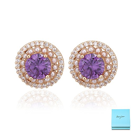 Amethyst Stud Earrings for Women - 14k Gold Plated Round Purple Cubic Zirconia Crystal Encircled by Pearls and CZ Fashion Stud Earrings for Wedding Bridesmaids Valentine's Day - Usa Tiffany