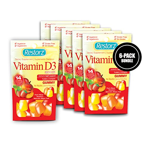 Restorz Adult Male & Female Vitamin D3 Gummies Supplement Supports The Bones and Heart in The Body - Flavorful Peach, Mango & Strawberry Assorted Vegetarian Vitamins (84 Count)