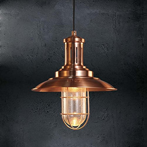 (BAYCHEER HL422483 Retro Industrial Creative Lighting Chandelier Pendant Light Hanging Lamp Celling Lights Fixture with Glass Shade for Indoor Restaurant Bar Hallway use 1 E26 Bulb - Red Copper)