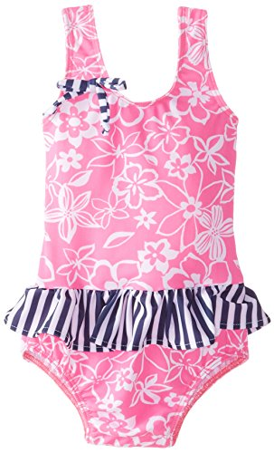 Flap Happy Baby Girls' Rio Swimsuit with Snaps In Polyester Spandex, Hibiscus Heaven, 24 Months
