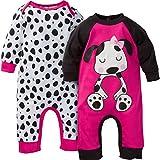 Gerber Baby-Girls Newborn 2 Pack Coverall, Dog, 0-3 Months