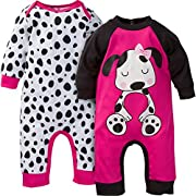 Gerber Baby-Girls Newborn 2 Pack Coverall, Dog, 0-3 Months