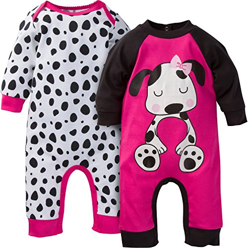 Gerber Baby-Girls Newborn 2 Pack Coverall, Dog, 6-9 Months
