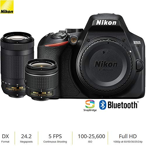 Nikon D3500 24.2MP DSLR Camera w/AF-P 18-55mm VR Lens & 70-300mm Dual Zoom Lens (1588B) – (Renewed)