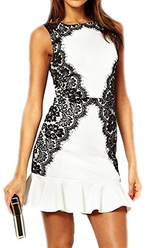 Ruffled Accent (made2envy Lace Accents Ruffled Skirt Mini Dress (L, White) C21142L)