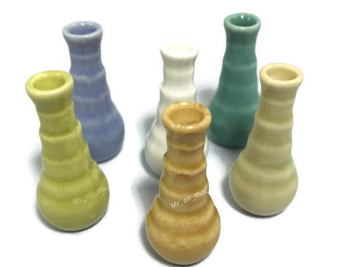 Mr/_air/_thai/_Miniature Lot of 6 Miniature Vase Jar Pastel Ceramic Set Vintage Pot Dollhouse Furniture Fairy Garden