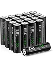 EBL AA Rechargeable Batteries Solar Lights Battery 20 Packs, Performance AA Ni-CD Rechargeable Batteries for Solar Garden Lights, TV Remotes, Flashlight