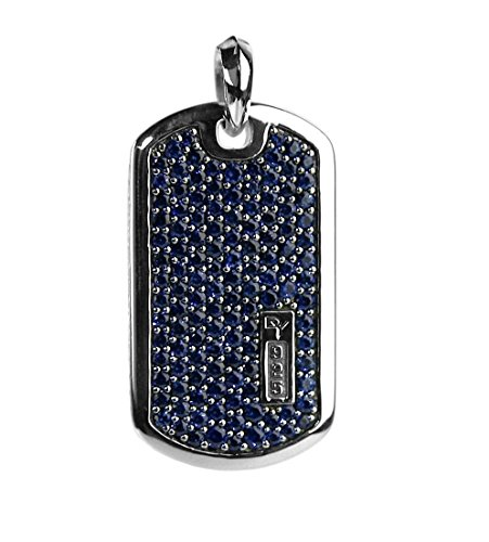 (David Yurman STERLING SILVER PAVE SAPPHIRE XLARGE 42 mm DOG TAG ENHANCER # 8T)