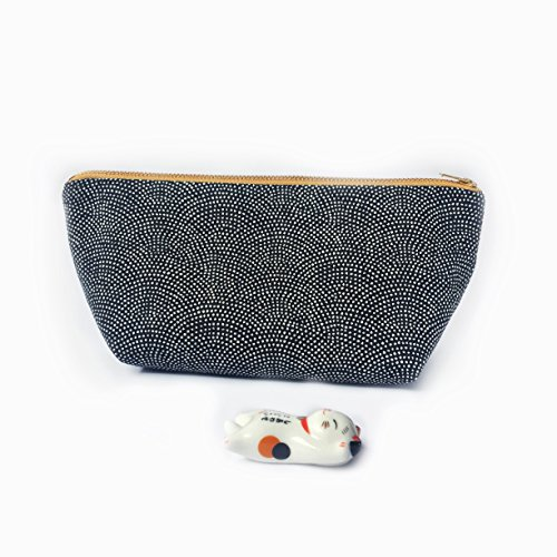 Japanese Wave Cosmetic Bag Travel Organizer Samekomon Indigo Blue by kkissmade