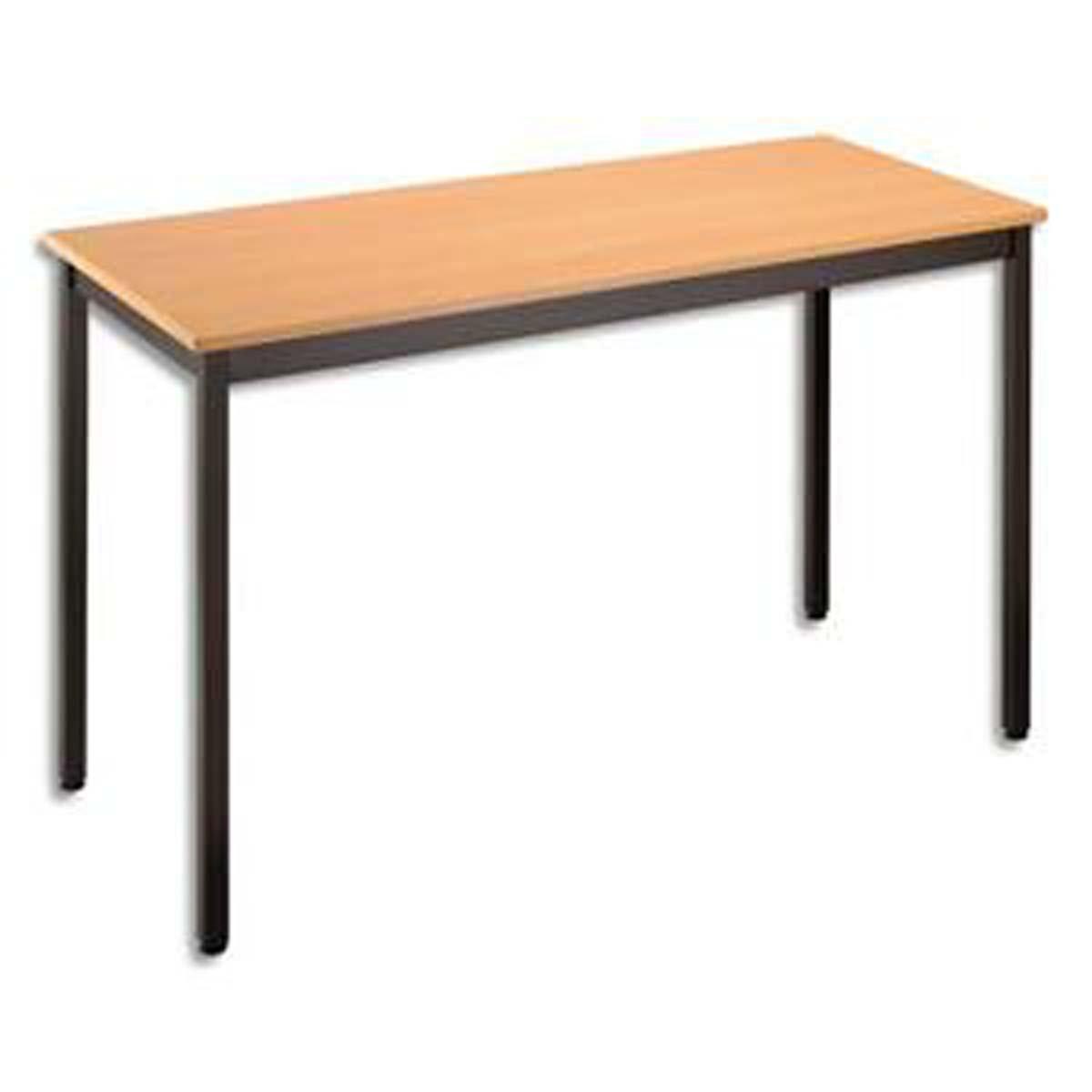 Table polyvalente rectangulaire 120 x 60 cm hêtre/noir VISIODIRECT