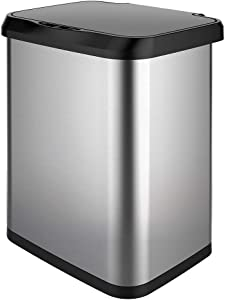 GLAD GLD-74515 Stainless Steel Sensor Trash Can with Clorox Odor Protection of The Lid | Fits Kitchen Pro 13 Gallon Waste Bags