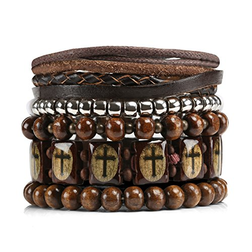 - Naler Mix 6 Wrap Bracelets Men Women, Hemp Cords Wood Beads Ethnic Tribal Bracelets, Leather Wristbands
