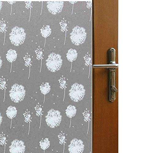 Frosted Pattern White - Color Your World Vinyl Garden Style Floral Decorative Window Film Self Adhesive White Frosted Dandelion Pattern Sliding Door Privacy Window Covering Film,17.7 x 78.7 Inches(45CM by 200CM)