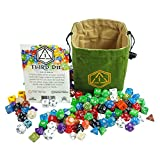 Third Die Dice Bag - Handcrafted And Reversible Drawstring Bag That Stands Open On The Table - For All Your Gaming Needs - Leaf Green and Tan