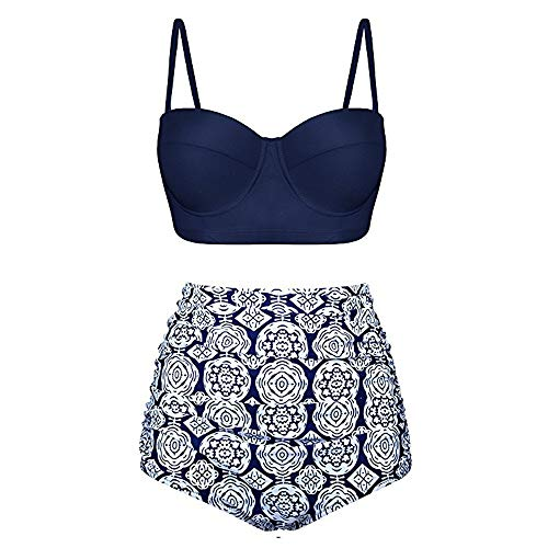 MILIMIEYIK Blouse Bikini Swimsuit for Women One Piece Racerback Printed Tankini Top Skirted Bottom Two Pieces Swimsuits Navy