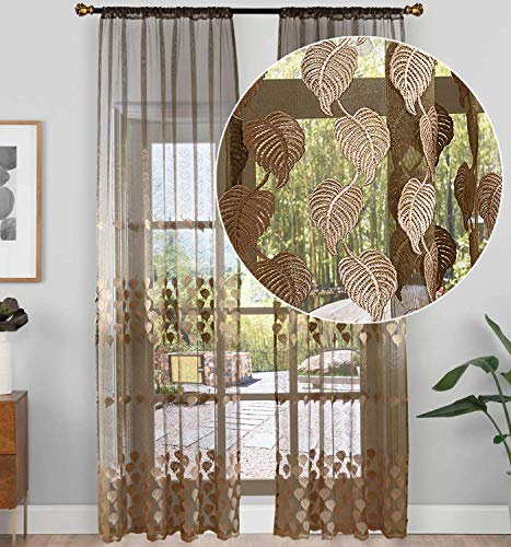 Aside Bside Violet Lace Sheer Curtain for Living Room Bedroom Leaf Pattern Embroidered Voile Curtain Rod Pocket Panel(1 Panel, W 52 x L 95 inch, Brown) ()