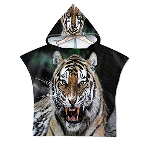 African Soft Hooded Beach Bath Towel,Tiger Face with Roaring Wildlife Safari Savannah Animal Nature Zoo Photo Print for Teenagers & Children,23.6''W x 23.6''H