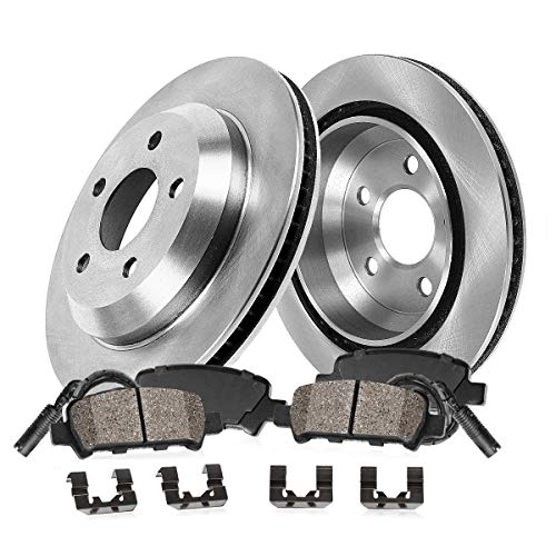 REAR 330 mm Premium OE 5 Lug [2] Brake Disc Rotors + [4] Ceramic Brake Pads + Sensors + Hardware (Pad Turbo Ceramic Brake Porsche)