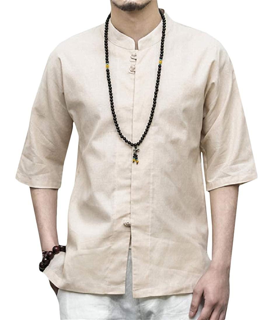 Etecredpow Mens Stand Collar Vogue Half Sleeve Tang-Suit Frog-Button Button Down Shirts