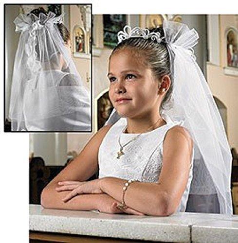 Make First Communion Veil (Girls Tiara First Communion Veil, Boxed -- Lace/silk Floral -- 25