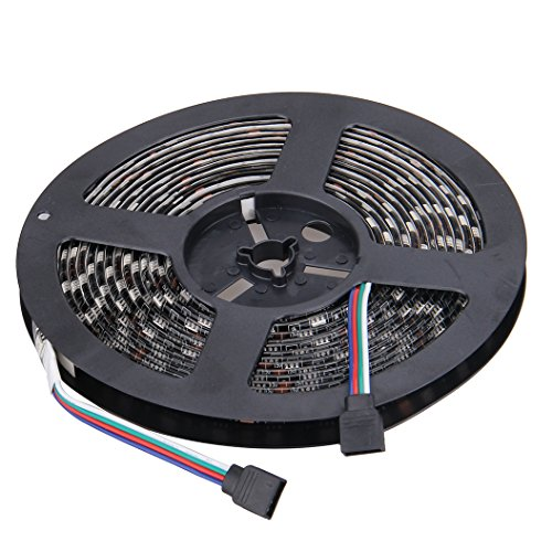 NEWSTYLE Black PCB Celebration LED Strip Lighting 16.4ft 5M Waterproof Rope Lights 300 LEDs 5050 SMD RGB Multicolored (Led Strip Lights Black compare prices)