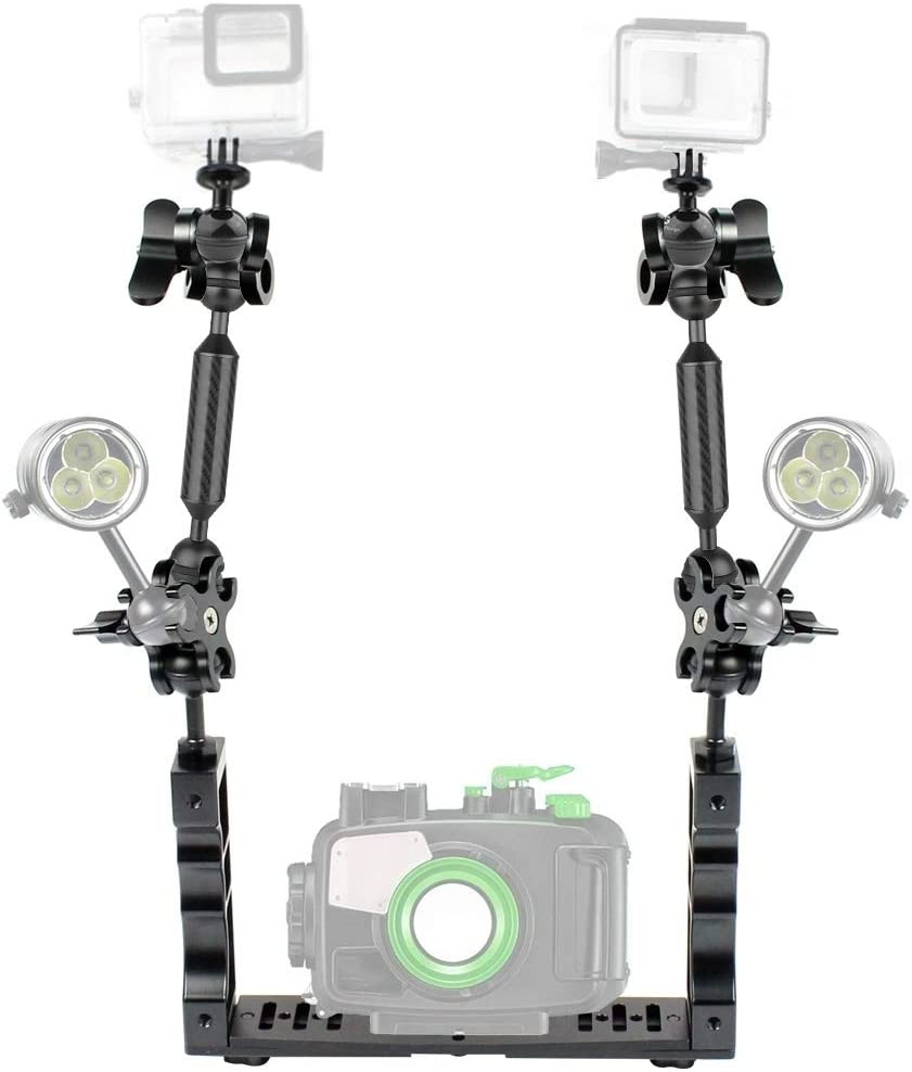 MEETBM ZIMO,Dual Handle Aluminium Tray Stabilizer with 4 x Dual Ball Aluminum Alloy Clamp /& 2 x 7 inch Floating Arm /& 2 x Ball Head Adapter for Underwater Camera Housings
