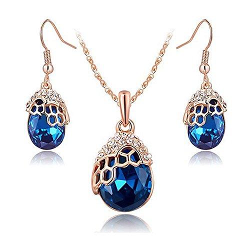 [Swarovski Element Blue Crystal Necklace Earrings Set Rose Glod with Aquamarine for Women] (Rose Gold Costume Jewellery)
