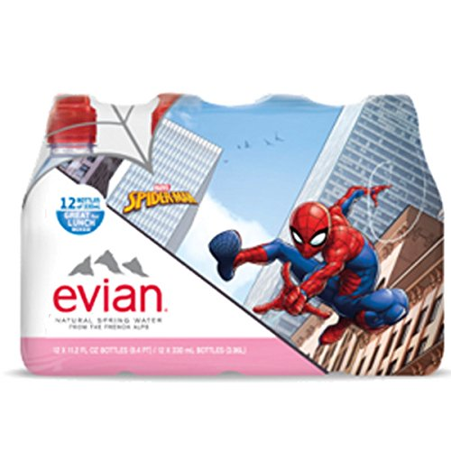 (Evian Spider-Man Natural Spring Water 330 ml Sports Cap Plastic Bottles - Pack of 12)