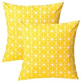 Cheap Find-In-Find Pack of 2 Cushion Covers Throw Pillow Covers Cases for Couch Sofa Home Decor Modern Geometric 18″x18″ Yellow Gridlines