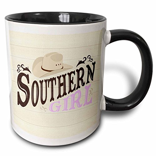 3dRose Janna Salak Designs Country Collection - Southern Girl Purple - 11oz Two-Tone Black Mug (mug_217285_4)