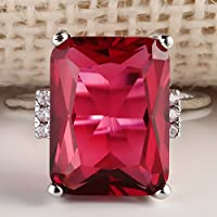 Sumanee Charming Jewelry 925 Silver Ruby Gem Ring Women Wedding Engagemet Size 6-10 (7)