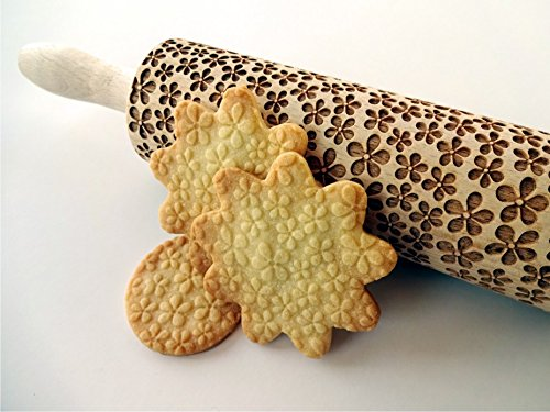 Embossing rolling pin FLOWERS. Laser engraved dough roller with FLOWERS pattern