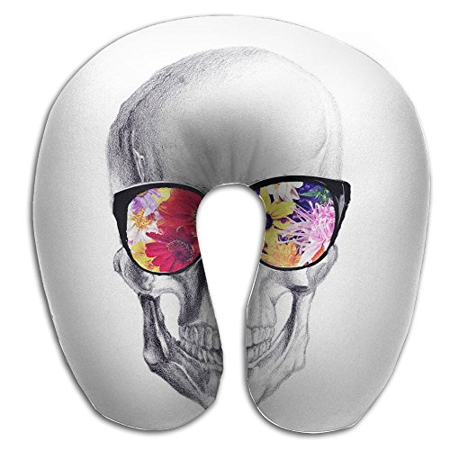Skulls With Beach Flower Sunglasses Print U Type Pillow Memory Foam Neck Pillow For Travel And Relief Neck Pain Comfortable Super Soft Cervical Pillows With Resilient Material Relex - Types Sunglasses Of For Face Shapes