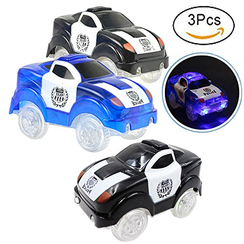 Gomech Magic Tracks Cars Bend Flex and Glow in the Dark, 3 pcs Kids LED Electric Track Car Toy Glow in the Dark for Magic Flexible Racing Track