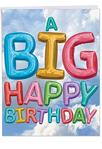 Happy Birthday Card 'Inflated Messages Birthday' with Envelope 8.5 x 11 Inch - A Big Happy Birthday Balloons Floating in The Blue and White Cloud Sky - HBD Greeting Cards J5651EBDG (Big Happy Birthday Card)