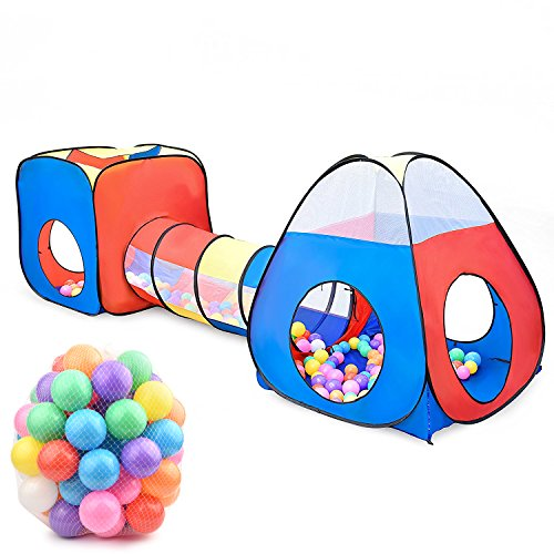 Play Tunnel Tent, XIEMIN Kids Pop Up Play Tunnel with 100 pcs Playballs Indooor Outdoor Crawl Play Tent Set for Childrens, Toddlers, Boys, Girls, Babies