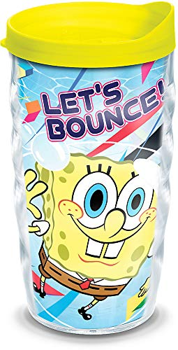 Tervis 1141949 Nickelodeon - SpongeBob Squarepants Tumbler with Wrap and Neon Yellow Lid 10oz Wavy, Clear