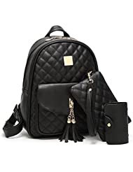 Mn&Sue Women Girls Quilted Leather Backpack Small Bag Tassel Daypack with Purse