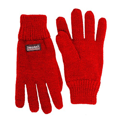 SANREMO Unisex Kids Knitted Fleece Lined Warm Winter Gloves (Large, Red)