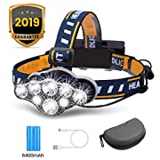 #LightningDeal Rechargeable Headlamp, OUTERDO 8 LED Headlamp Flashlight 13000 Lumens 8 Modes with USB Cable 2 Batteries, Waterproof LED Head Torch Head Light with Red Light for Camping Fishing, Car Repair, Outdoor