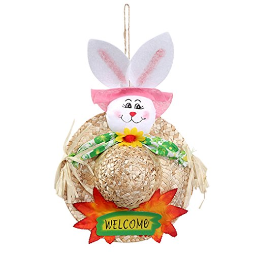 Coxeer Easter Straw Hat, Easter Hanging Decor Hat Creative B