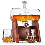 Milburga Premium Quality 1150ml Sailing Ship Whiskey Decanter Set with 2 Glasses & Oak Wood Stand – Unique Lead Free Liquor Dispenser, Vintage Bourbon Gift Set for Scotch, Whisky, Rum & Alcohol