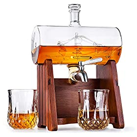 Milburga Premium Quality 1150ml Sailing Ship Whiskey Decanter Set with 2 Glasses & Oak Wood Stan