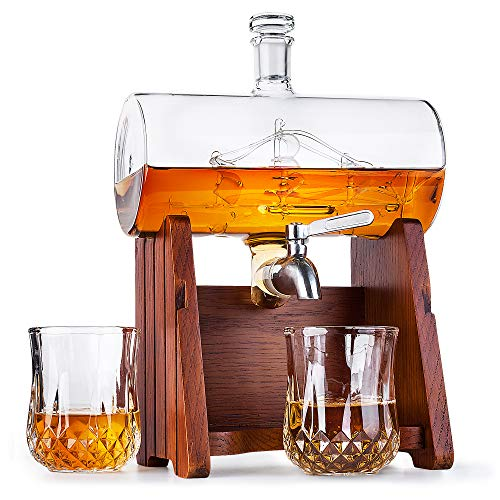 Milburga Premium Quality 1150ml Sailing Ship Whiskey Decanter Set with 2 Glasses & Oak Wood Stand - Unique Lead Free Liquor Dispenser, Vintage Bourbon Gift Set for Scotch, Whisky, Rum & Alcohol (Johnnie Walker Whisky Blue Label)