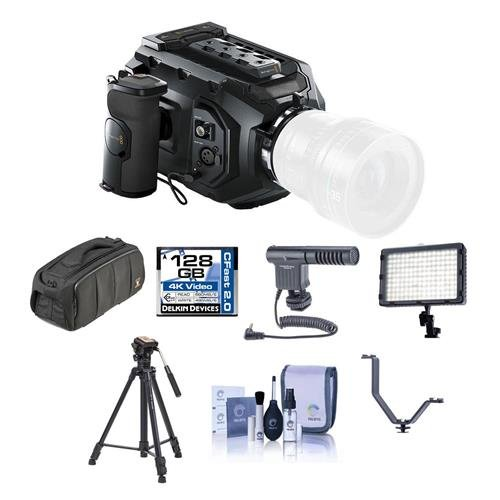 Blackmagic Design URSA Mini 4K Camera with EF Mount, 4K Super 35 Sensor - Bundle with 128GB CFAST Card, Video Bag, Shotgun Mic, Video Tripod, Video Light, Cleaning Kit, V Shoe Bracket by Blackmagic Design